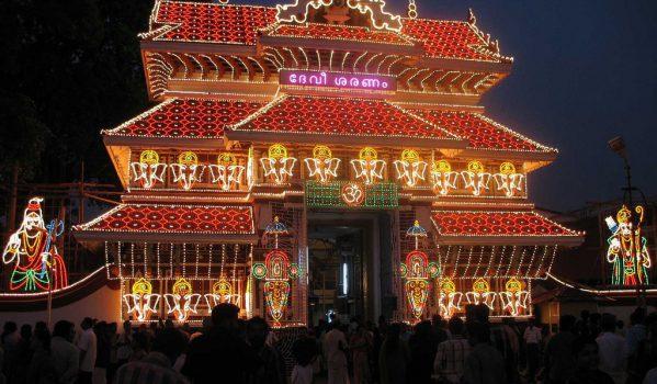 Paramekkavu temple lighted Gopuram